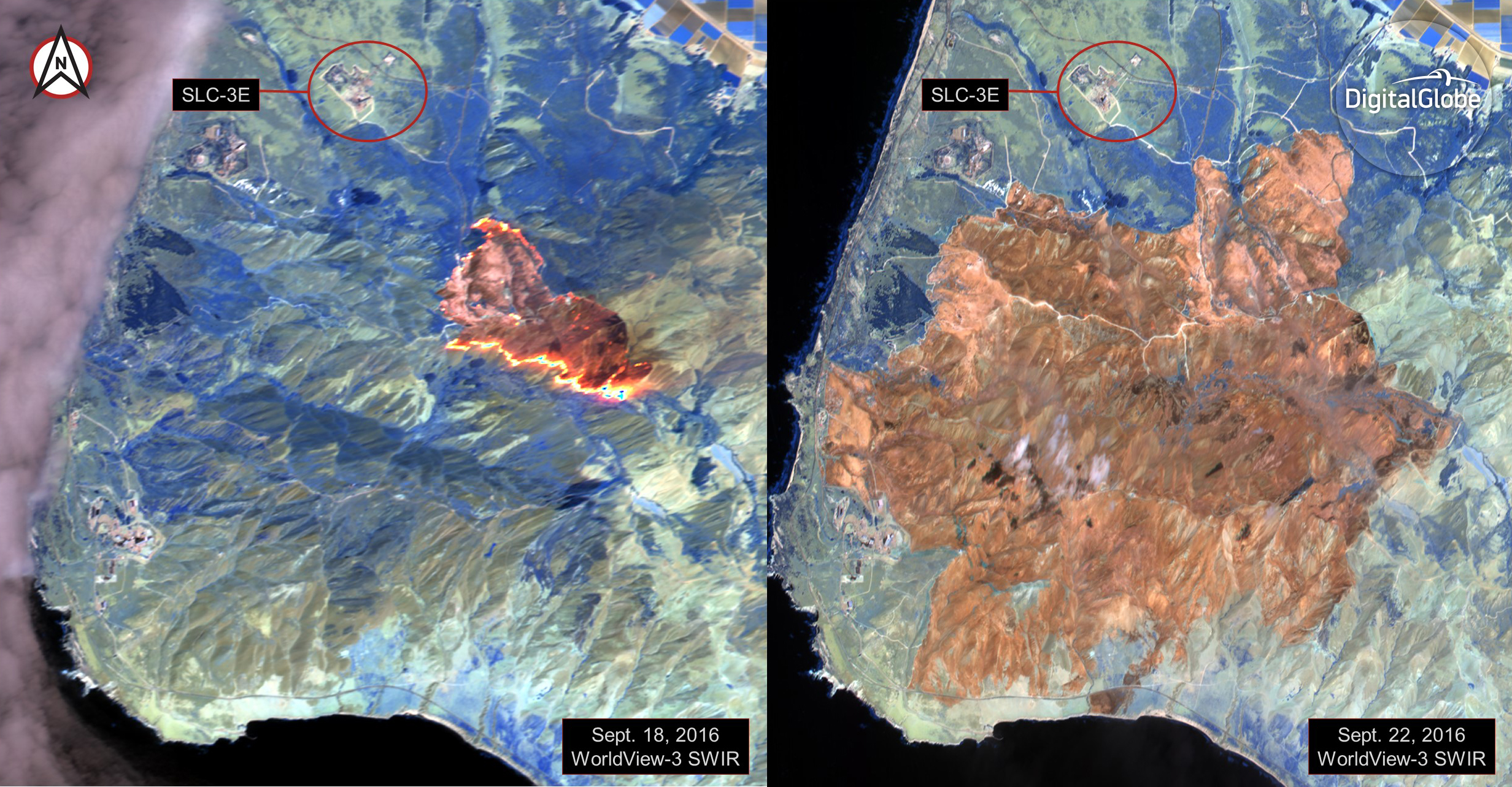 Imagery from Worldview 3 used to fight fires threatening Worldview 4 launch
