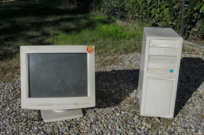View of computer case and monitor of the 90s