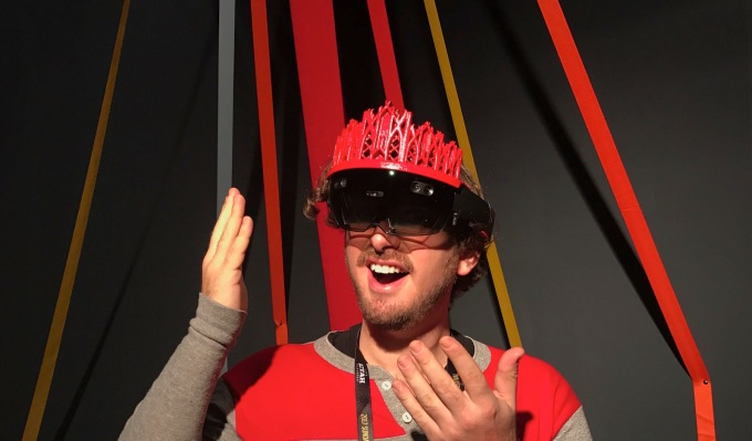 Your faithful author wearing the HoloLens in Heroes' custom-decorated set