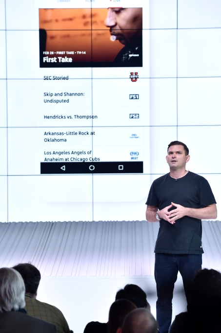 LOS ANGELES, CA - FEBRUARY 28: YouTube Director of Product Management Christian Oestlien speaks onstage during the YouTube TV announcement at YouTube Space LA on February 28, 2017 in Los Angeles, California. (Photo by Jeff Kravitz/FilmMagic for YouTube)