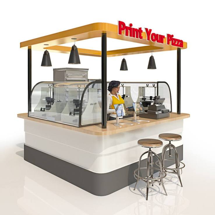 A rendering shows the BeeHex 3D food printer in a retail kiosk.