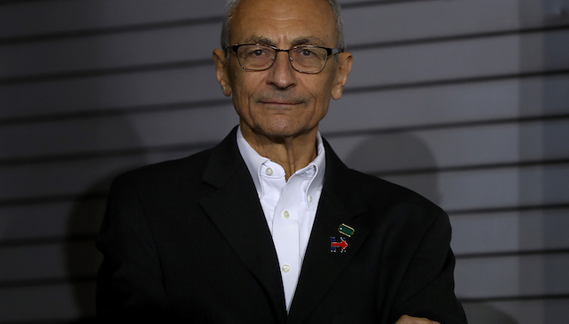 PITTSBURGH, PA - NOVEMBER 04: John Podesta, campaign chairman for Democratic presidential nominee former Secretary of State Hillary Clinton, looks on during a campaign rally at The Great Hall at Heinz Field on November 4, 2016 in Pittsburgh, Pennsylvania. With less than a week to go until election day, Hillary Clinton is campaigning in Pennsylvania, Ohio and Michigan. (Photo by Justin Sullivan/Getty Images)