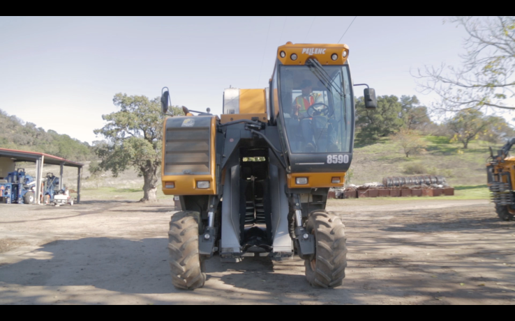 A Pellenc tractor at Treasury Wine Estates in Napa Valley, Calif.