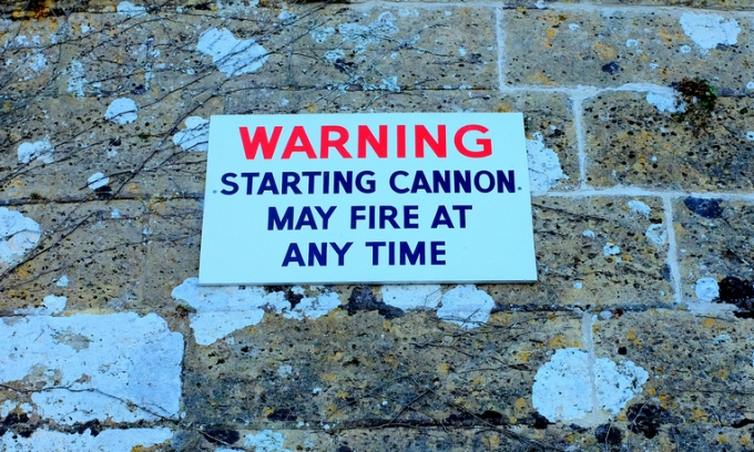 Warning: Starting cannon may fire at any time sign