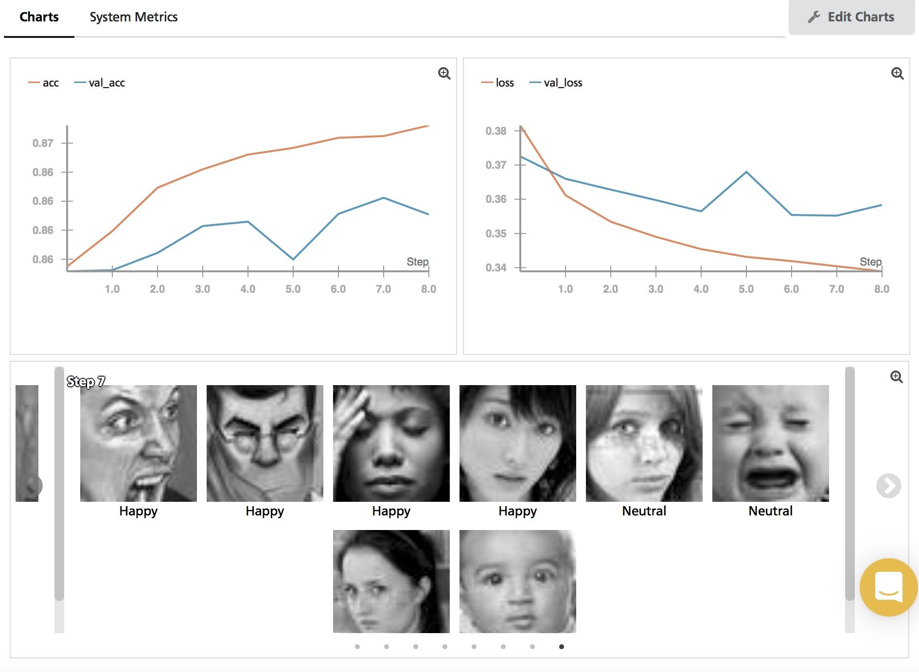 weights and biases screenshot