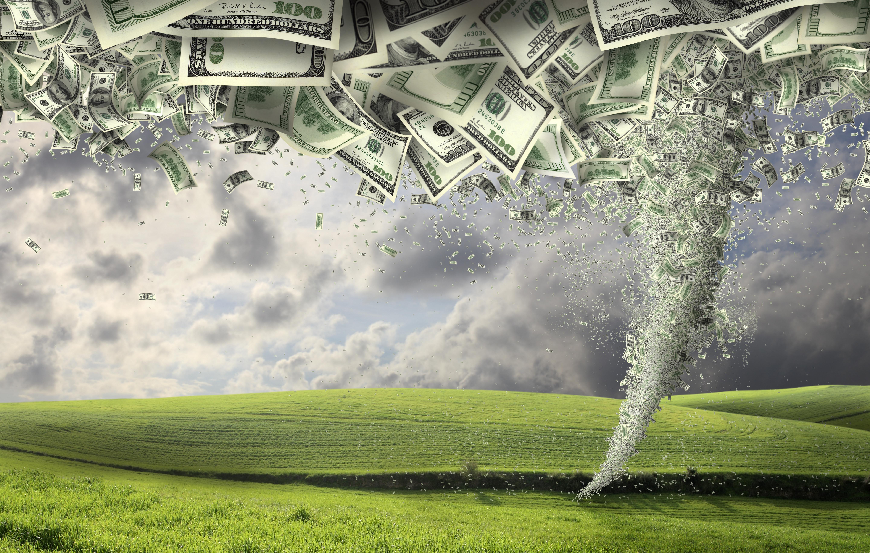 digitally generated image of money tornado.