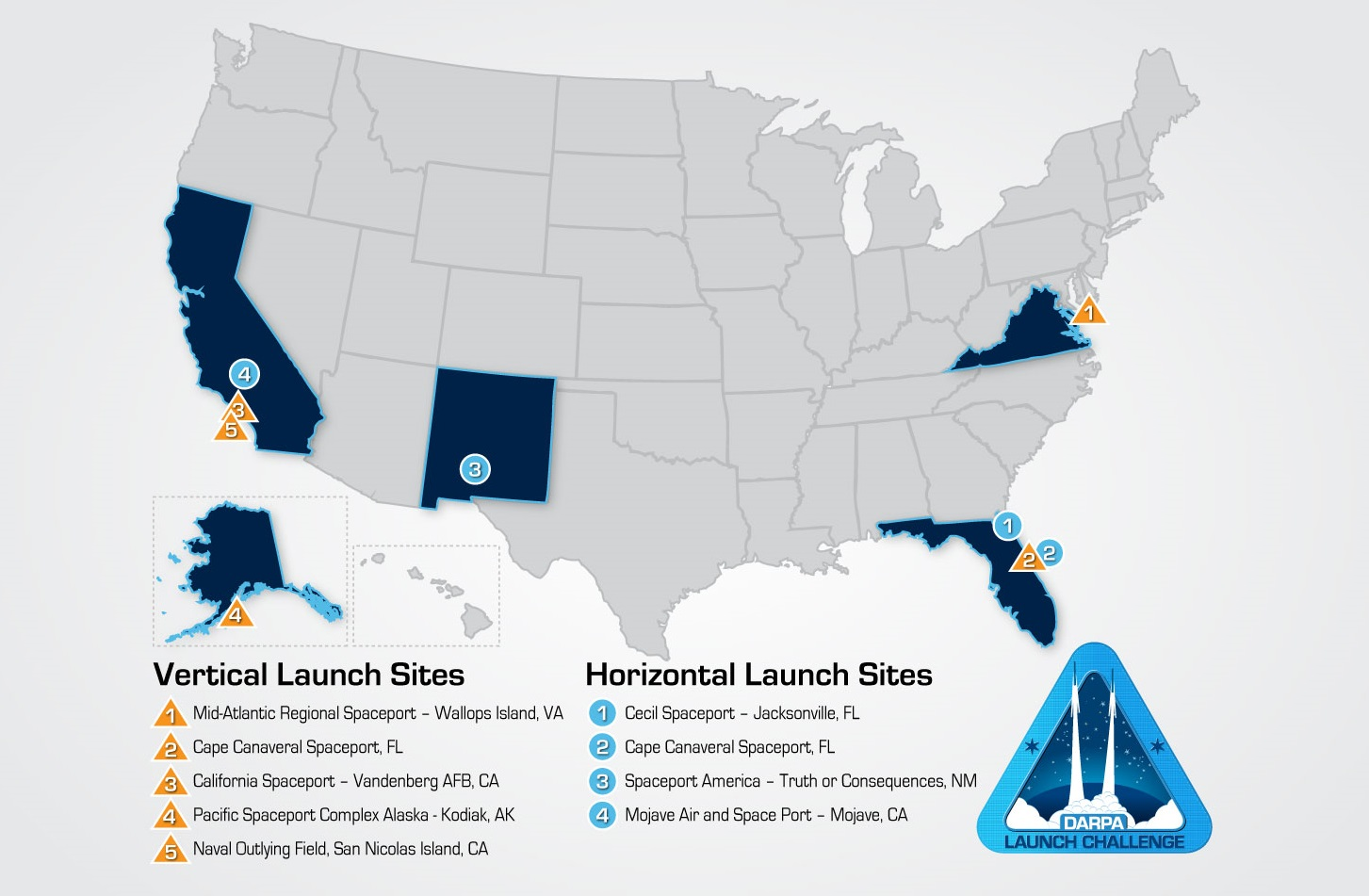 Map of the US showing launch locations for the challenge.