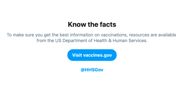 One of Twitter's new tools to stop the spread of vaccine misinformation