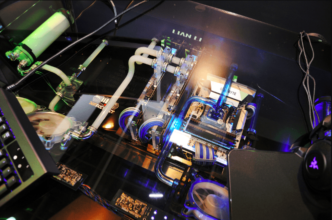 The inside of Lian Li's DK-05 combination workstation chassis