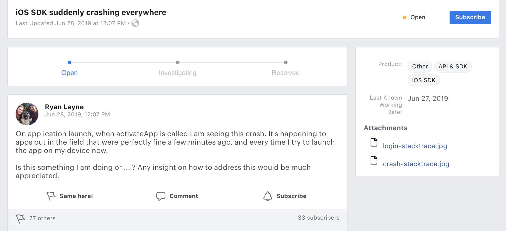 Facebook SDK Bug