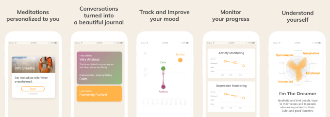 Screenshots from Youper, an app for emotional well-being.