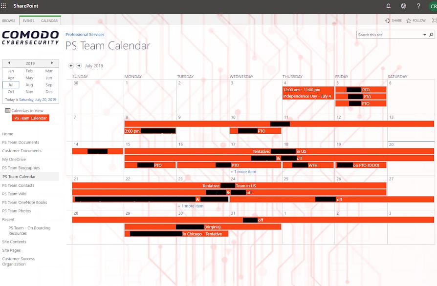 comodo calendar