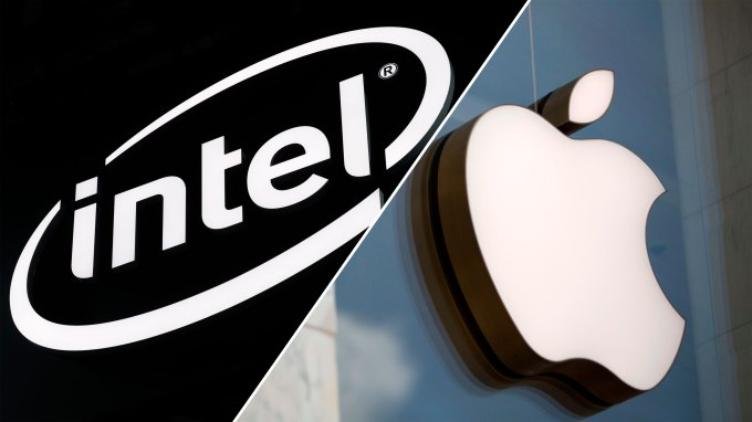 Intel and Apple logos