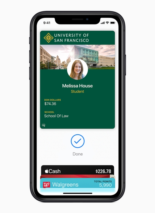 Apple brings student IDs to iPhone and Apple Watch university of san francisco student ID screen 081319