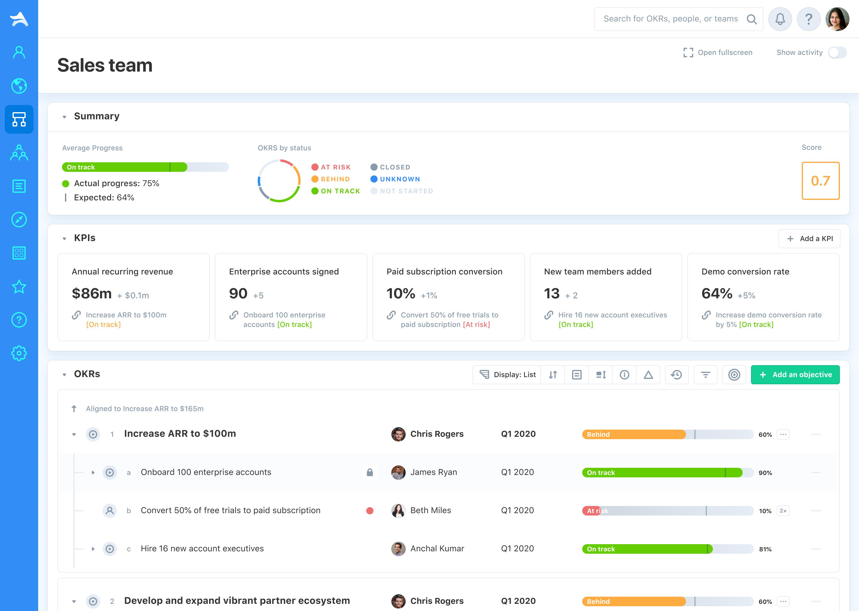 Desktop Team OKRs Screenshot