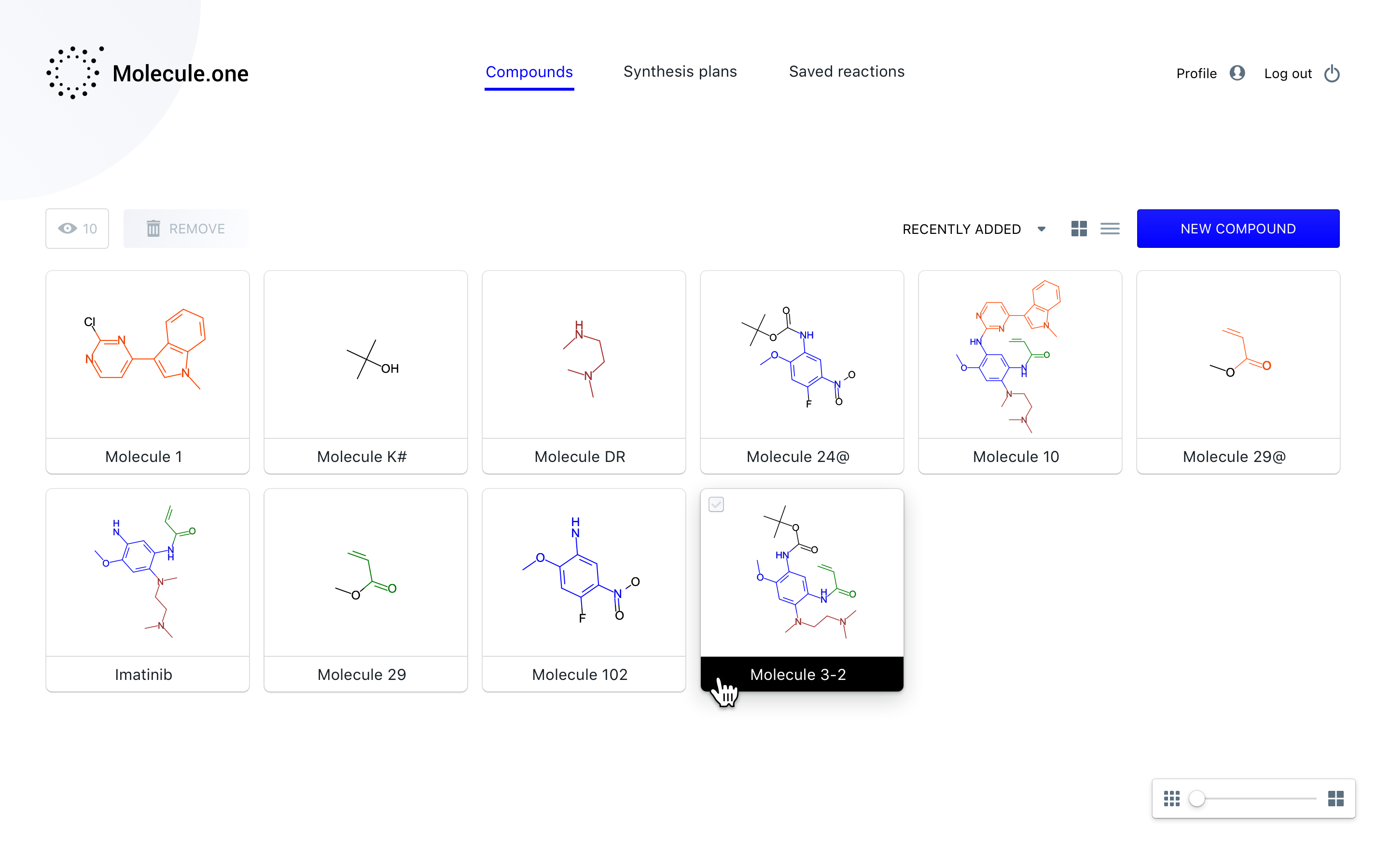 1.1.1 Molecule Dashboard Compounds