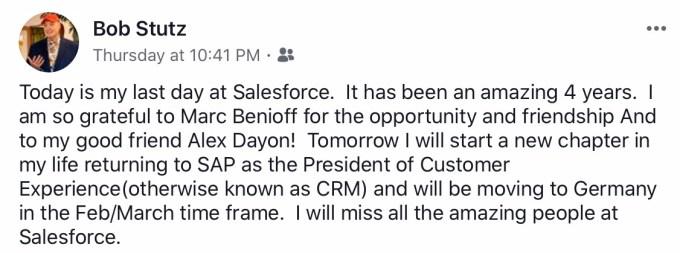 Bob Stutz Facebook announcement