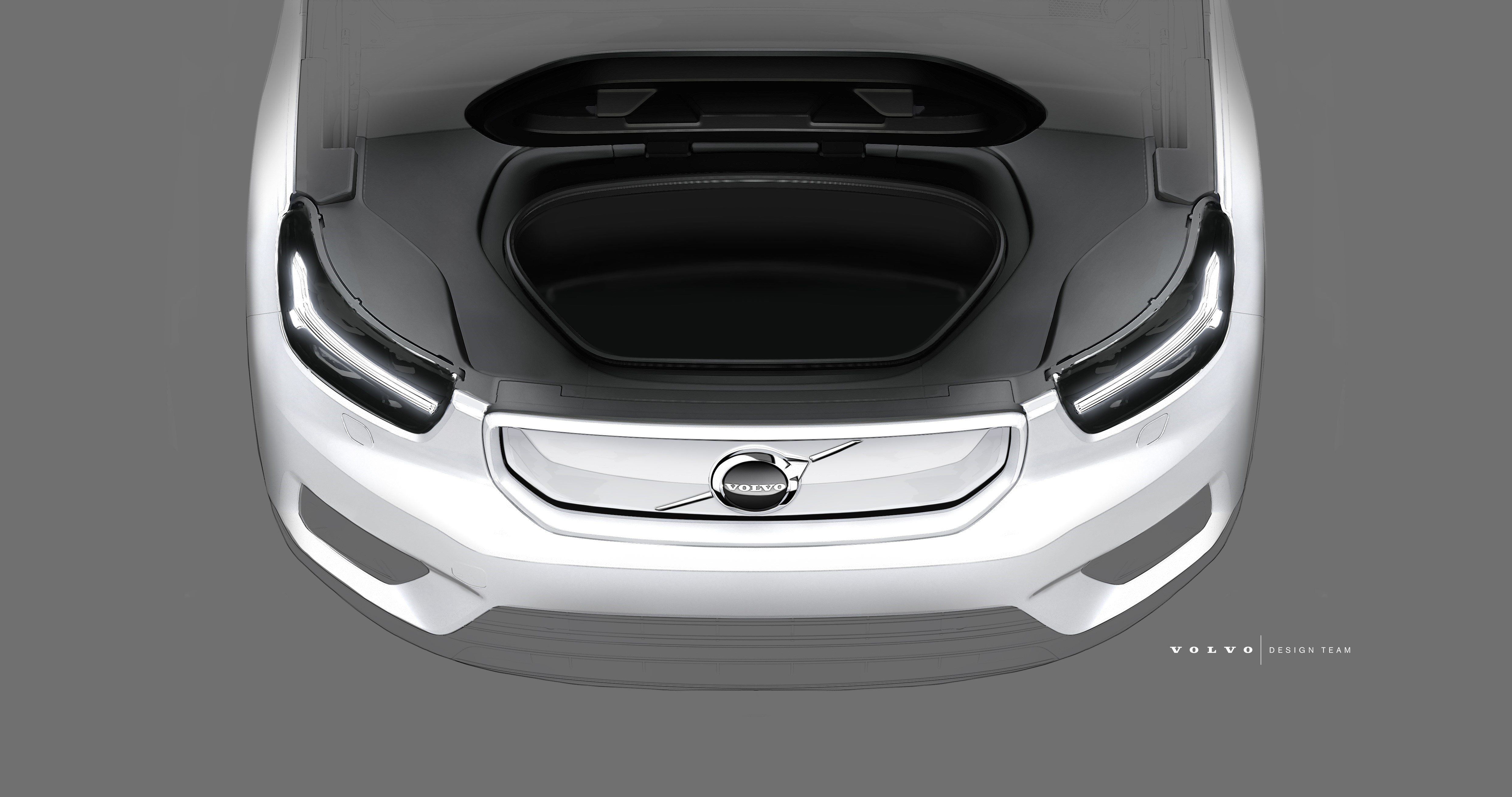 Design sketch of Volvo Cars fully electric XC40 SUV 2