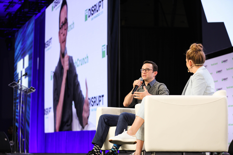 Joseph Gordon-Levitt speaks with Jordan Crook at TechCrunch Disrupt 2019 on October 2, 2019.