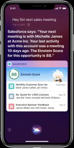 Hey Siri example in Salesforce Mobile app.