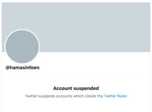 Hamas' suspended English-language Twitter account