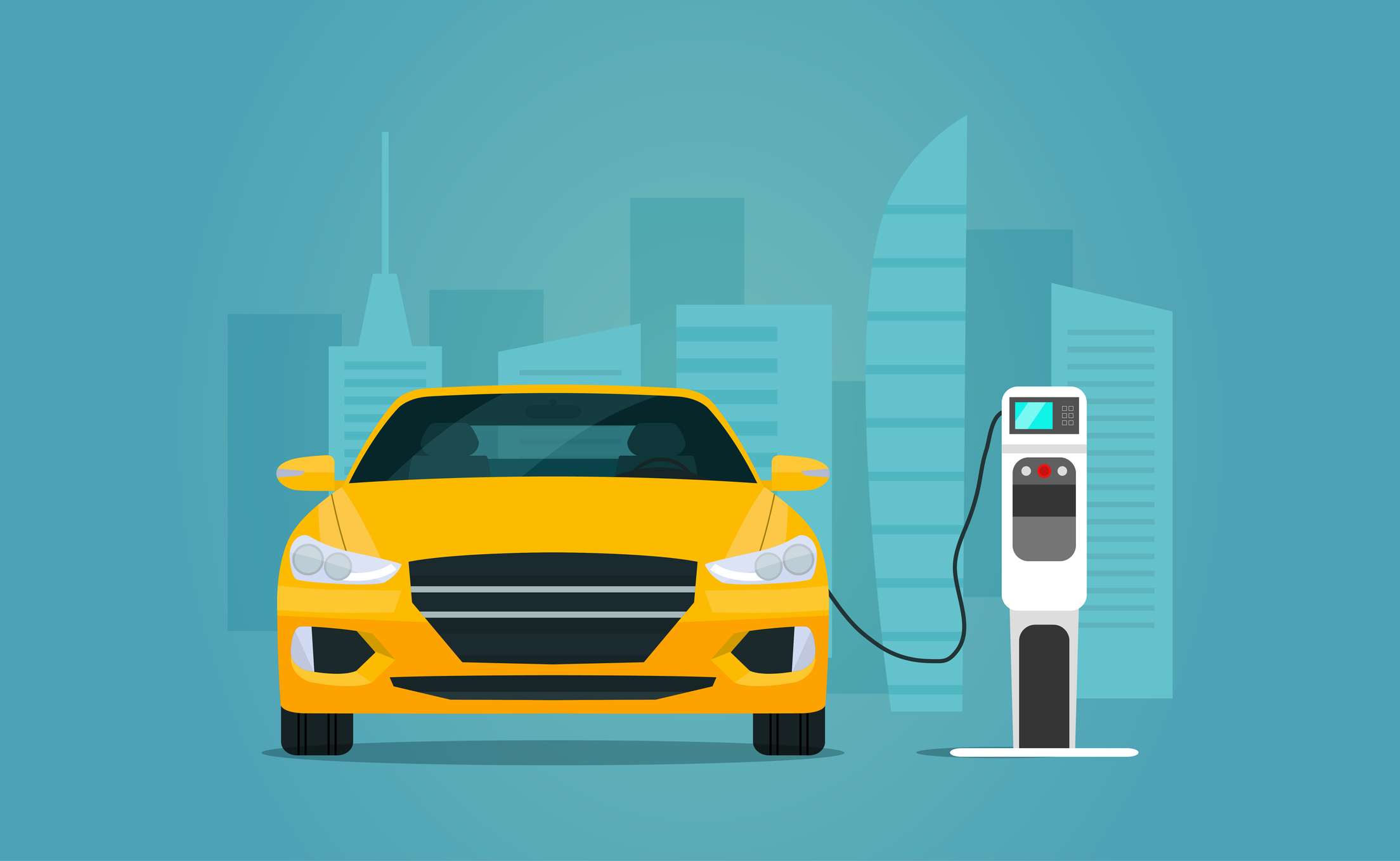 Electric sedan car charging