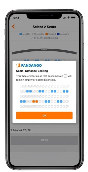 Fandango social distance seating