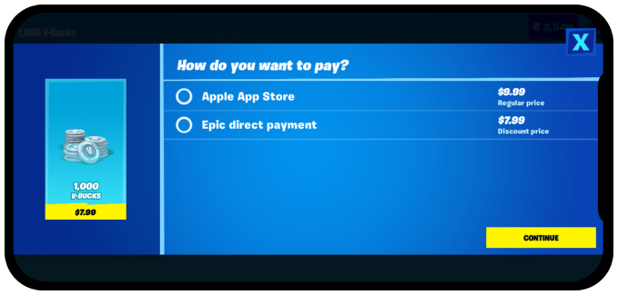 Epic Direct Payment in App Store