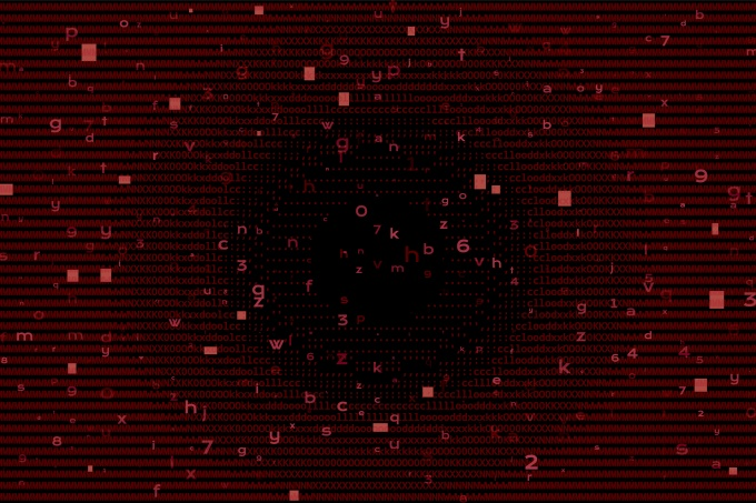 Digital Binary Code on Red Background. Cybercrime Concept