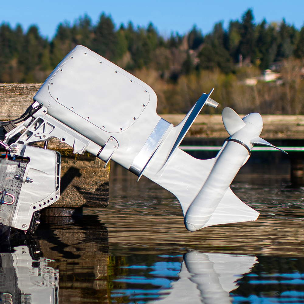 Pure Watercraft's electric outboard motor lifted out of the water