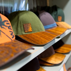 Custom hats on a shelf