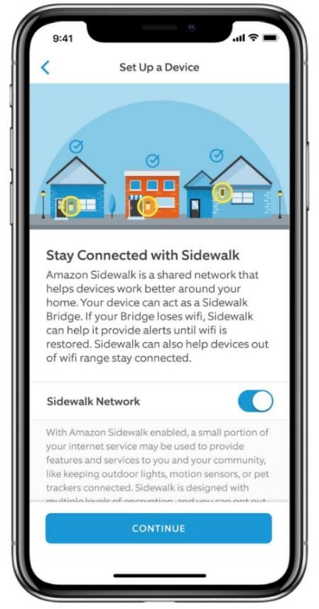 sidewalk app on/off toggle