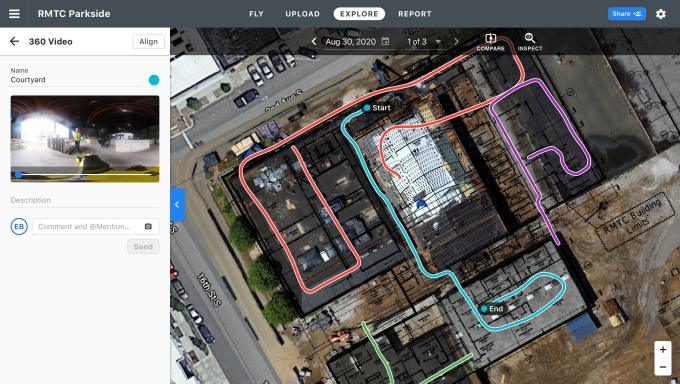 DroneDeploy bird's eye view of job site showing path taken through the site.
