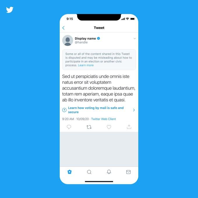 Twitter warning on labeled tweet