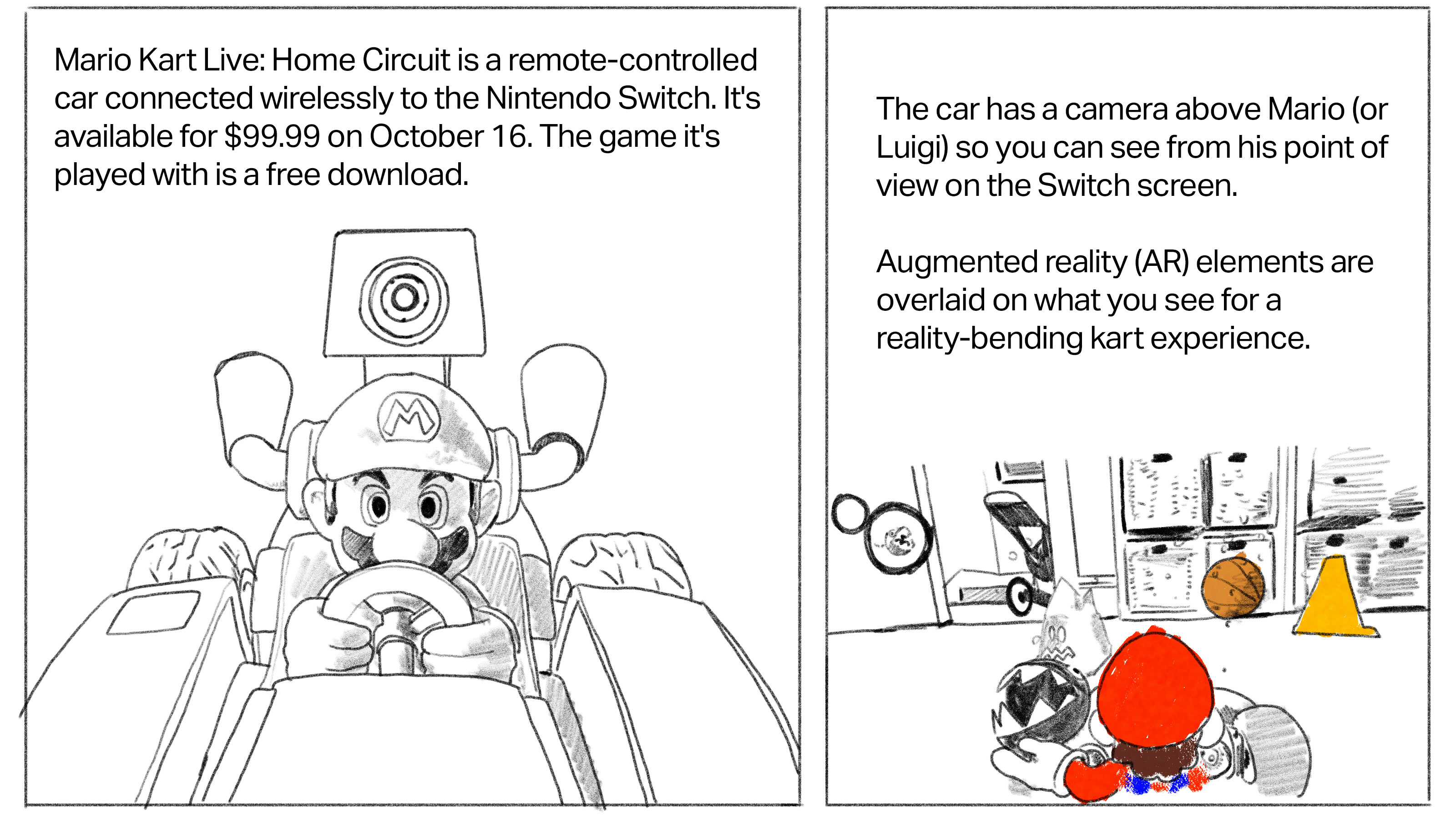 Text: Mario Kart Live: Home Circuit is a remote-controlled car connected wirelessly to the Nintendo Switch. It's available for $99.99 on October 16. The game it's played with is a free download. [Image: drawing of closeup of Mario Kart toy] Text: The car has a camera above Mario (or Luigi) so you can see from his point of view on the Switch screen. Augmented reality (AR) elements are overlaid on what you see for a reality-bending cart experience. [Image: drawing of in-game play in a living room]