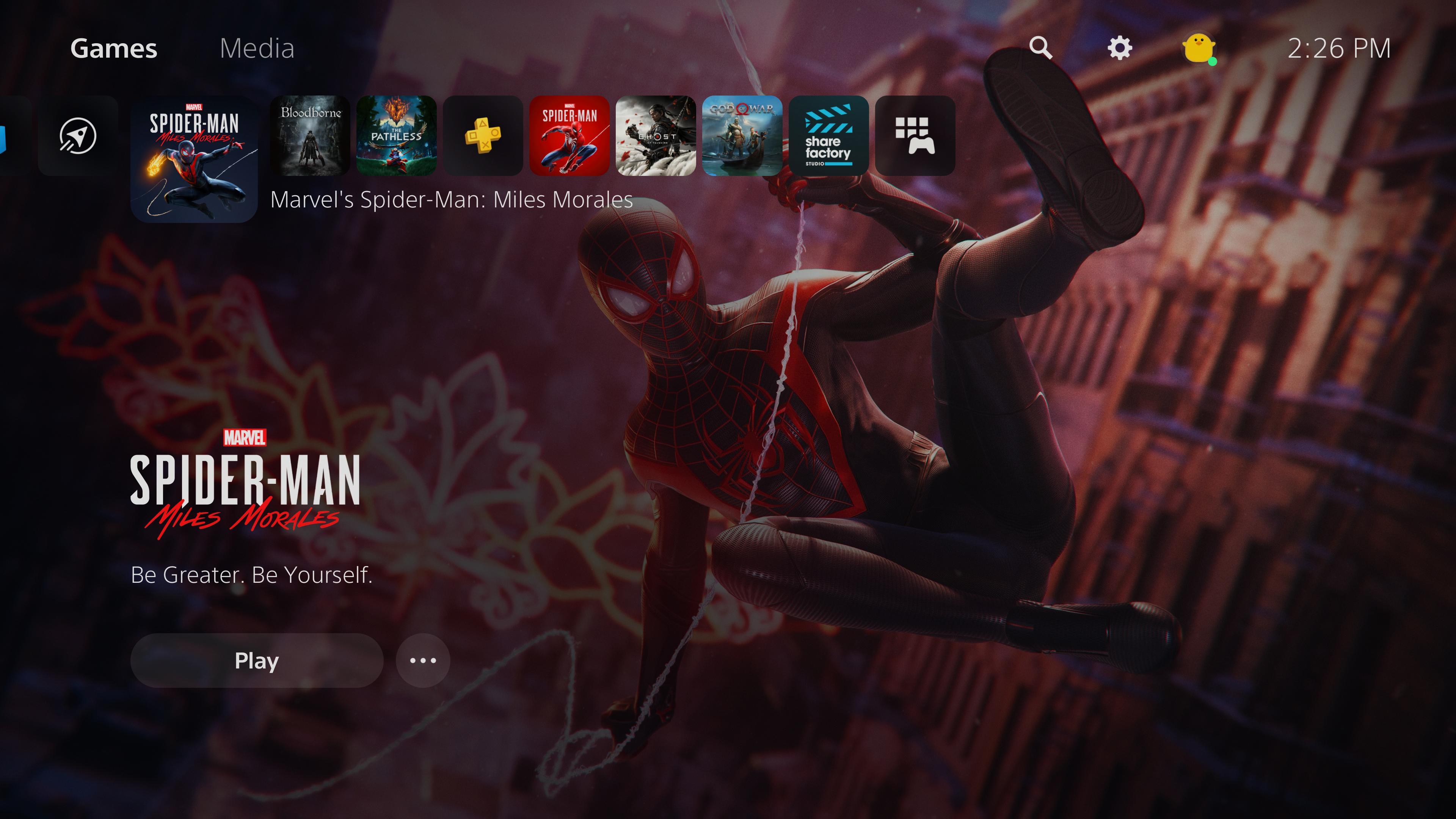 Screenshot of the PS5 menu.