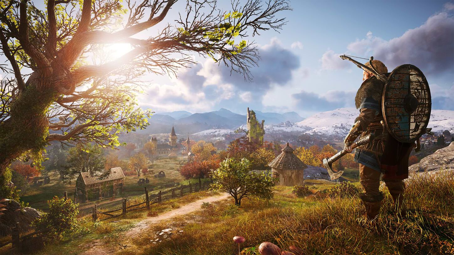 Screenshot of Assassin's creed valhalla showing a viking on a british landscape