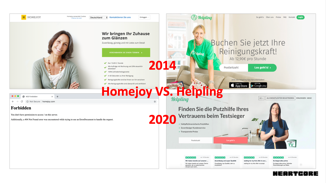 Homejoy expanded internationally in 2014 in a rush to squash a new German competitor Helpling. Their websites in 2020 show starkly different outcomes.