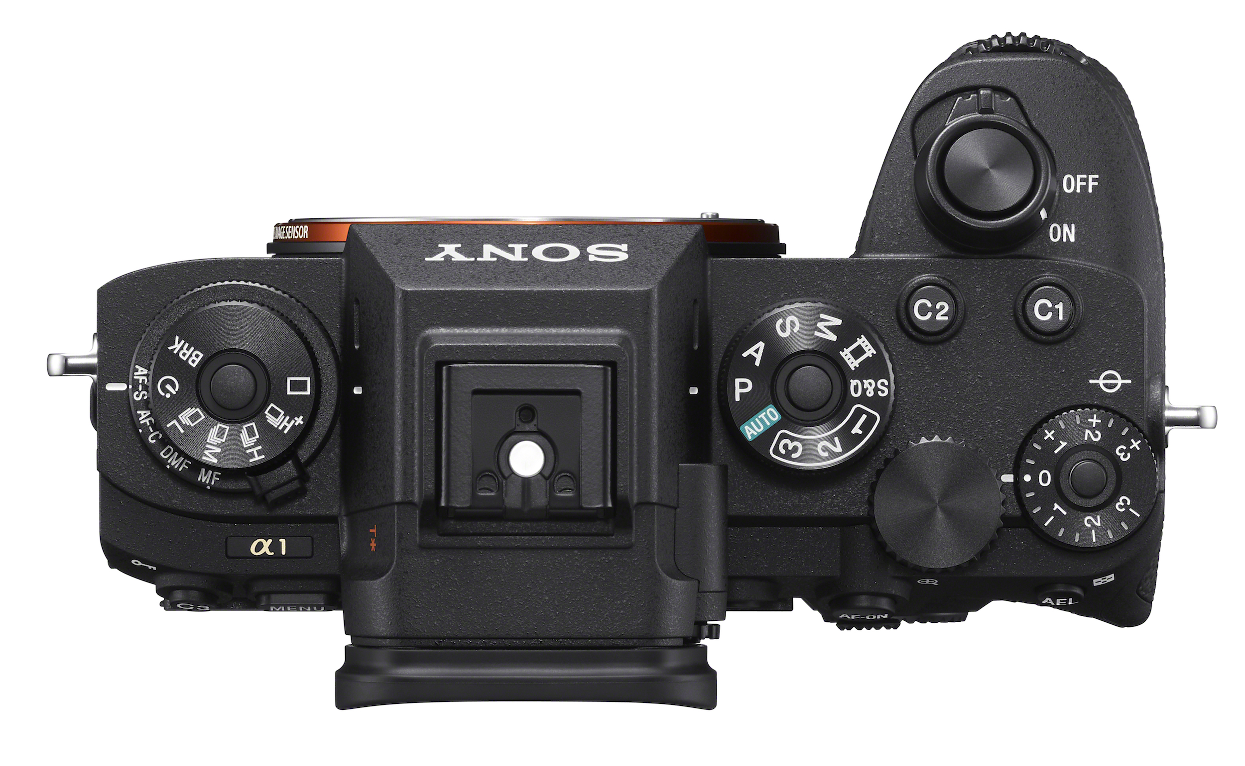 Top view of the Sony Alpha 1 camera showing its controls.