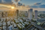 The sun setting over the mediteranean sea and the city of Tel-Aviv