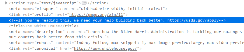 Section of source code asking for help from the US Digital Services administration