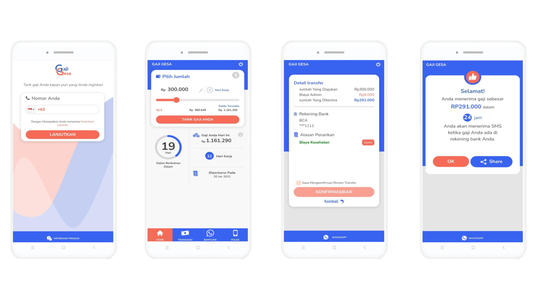 Screenshots showing how GajiGesa's app works. GajiGesa is a startup that offers earned wage access and other services to Indonesian workers.