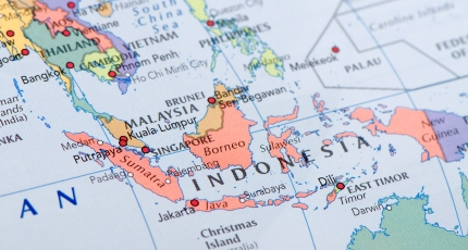 A closeup of a map of Southeast Asia, with Indonesia in focus