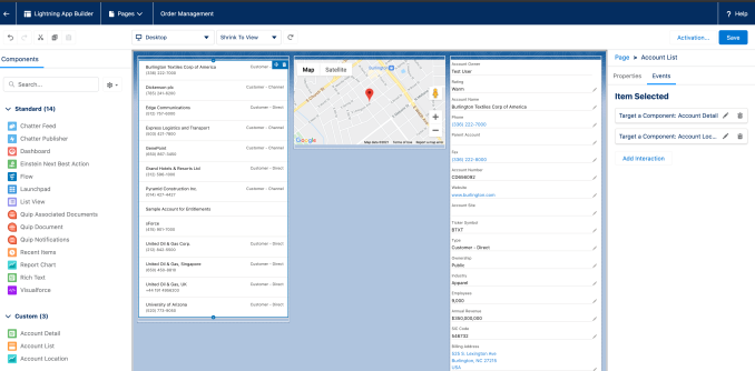 An example of dynamic interactions from Salesforce. Clicking an item of the left causes its locations to appear in the center and information about the selected item on the right.